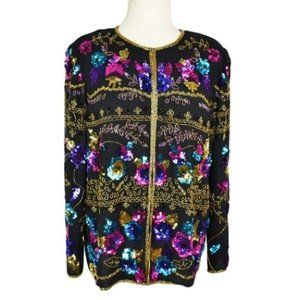 Drapers & Damons L Silk Sequin Floral Jacket Black